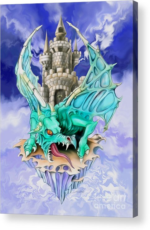 Spano Acrylic Print featuring the painting Dragons Keep By Spano by Michael Spano