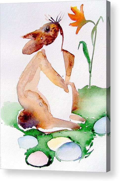 Bunny Acrylic Print featuring the painting Easter Bunny by Mindy Newman