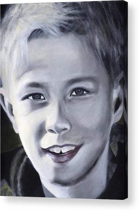 Portrait Acrylic Print featuring the painting Emil by Fiona Jack