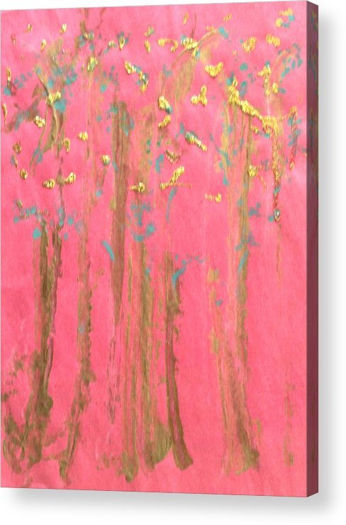 Abstract Acrylic Print featuring the painting Enchanted Forest - Abstraction by Michela Akers