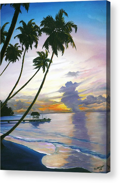 Ocean Painting Seascape Painting Beach Painting Sunset Painting Tropical Painting Tropical Painting Palm Tree Painting Tobago Painting Caribbean Painting Original Oil Of The Sun Setting Over Pigeon Point Tobago Acrylic Print featuring the painting Eventide Tobago by Karin Dawn Kelshall- Best