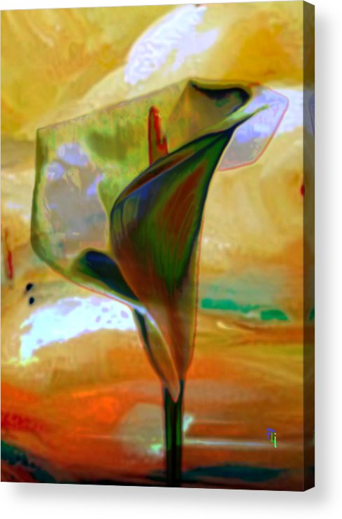 Calla Lilly Flower Abstract Background Colorful Acrylic Print featuring the painting Exotic Calla Lilly by Fli Art