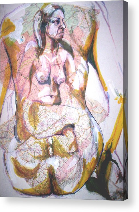 Nude Acrylic Print featuring the drawing Female Nude by Dannielle Murphy