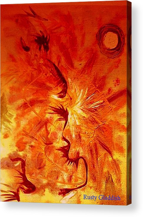 Abstract Acrylic Print featuring the painting Firebrand by Rusty Woodward Gladdish