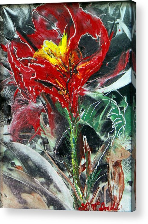 Flower Wax Art Red And Silver Abstract Acrylic Print featuring the painting First Encaustic by Lynda McDonald