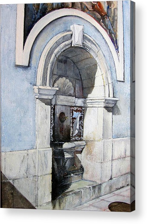 Fuente Acrylic Print featuring the painting Fuente Castro Urdiales by Tomas Castano