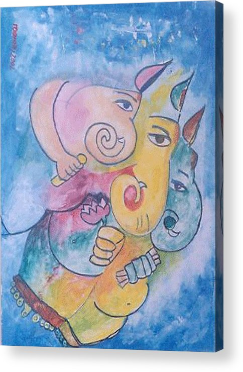 Painting Acrylic Print featuring the painting Ganesha by Rooma Mehra