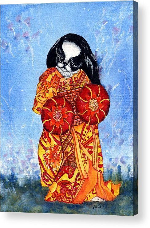 Japanese Chin Acrylic Print featuring the painting Geisha Chin by Kathleen Sepulveda