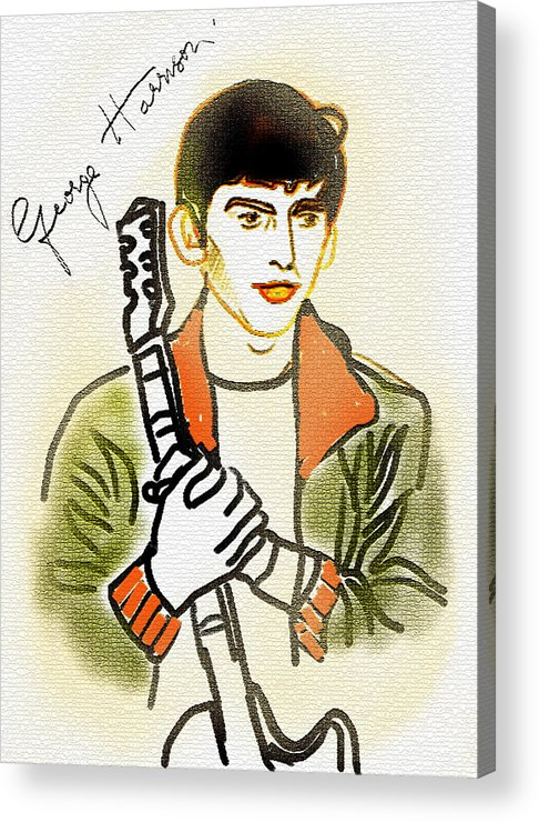 George Harrison Acrylic Print featuring the painting George Harrison - 2 by GooDaCool Gallery