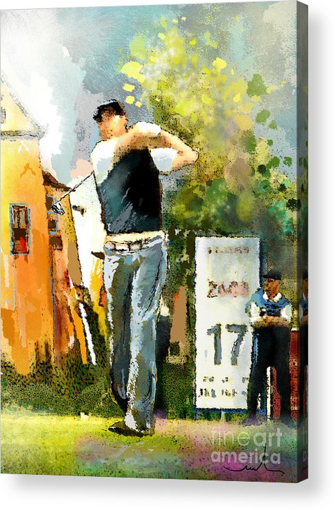 Golf Acrylic Print featuring the painting Golf In Club Fontana Austria 01 Dyptic Part 01 by Miki De Goodaboom