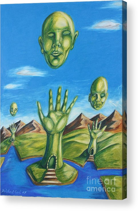 Surreal Landscape Acrylic Print featuring the drawing Reach For The Mind by Michael Cook