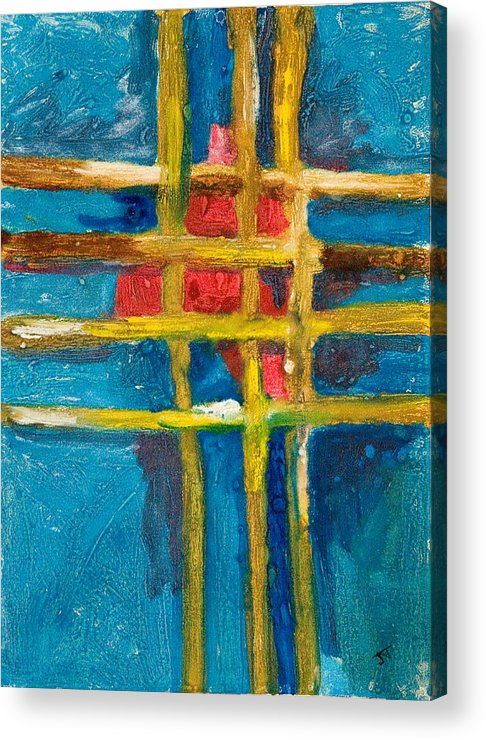 Abstract Acrylic Print featuring the painting Grid St Yellow Captures Red by John Toxey
