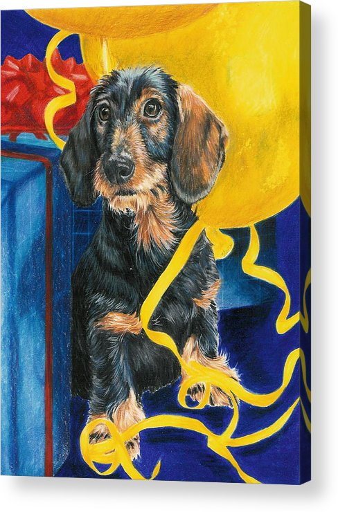 Dogs Acrylic Print featuring the drawing Happy Birthday by Barbara Keith