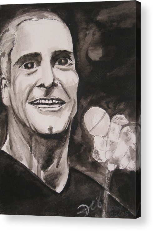 Author Black Darkestartist Flag Henry Ink Musician Panting Portrait Rollins Spoken Watercolor Darkest Artist Acrylic Print featuring the painting Henry Rollins by Darkest Artist