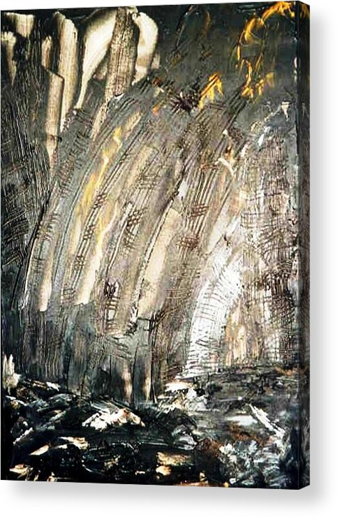 Black Acrylic Print featuring the painting Inferno by Bruce Combs - REACH BEYOND