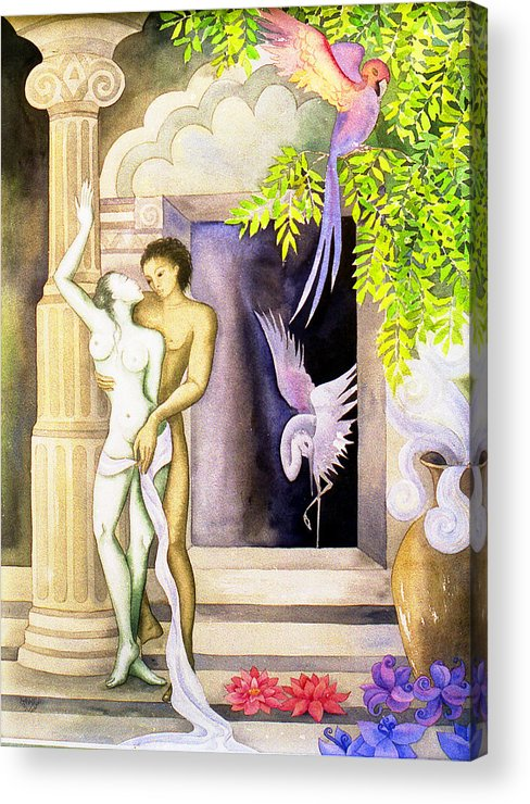 Lovers Temple Sacred Spiritual Tropical Mystical Sensuous Birds Acrylic Print featuring the painting Innner Sanctum by Jennifer Baird