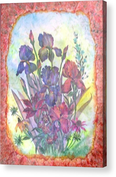 Floral Acrylic Print featuring the mixed media Itallian Garden by John Vandebrooke