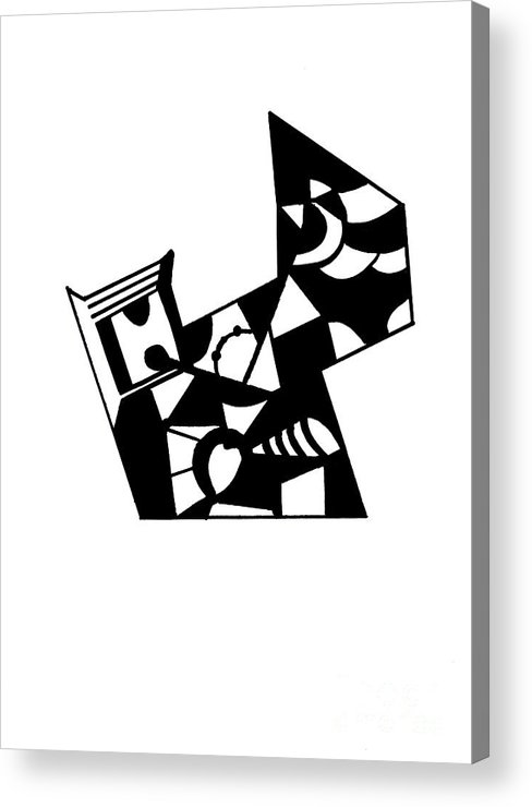 Black & White Acrylic Print featuring the painting Jigsaw by Mary Zimmerman