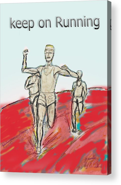Running Acrylic Print featuring the drawing Keep On Running, Athletes by Tom Conway