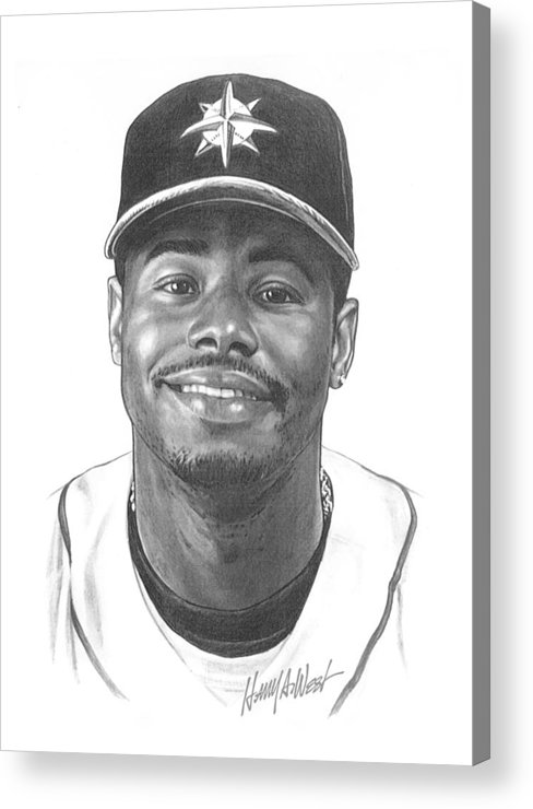 Ken Griffy Acrylic Print featuring the drawing Ken Griffey Jr by Harry West