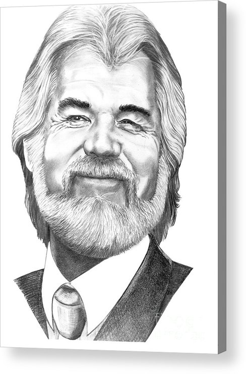 Music Acrylic Print featuring the drawing Kenny Rogers by Murphy Elliott
