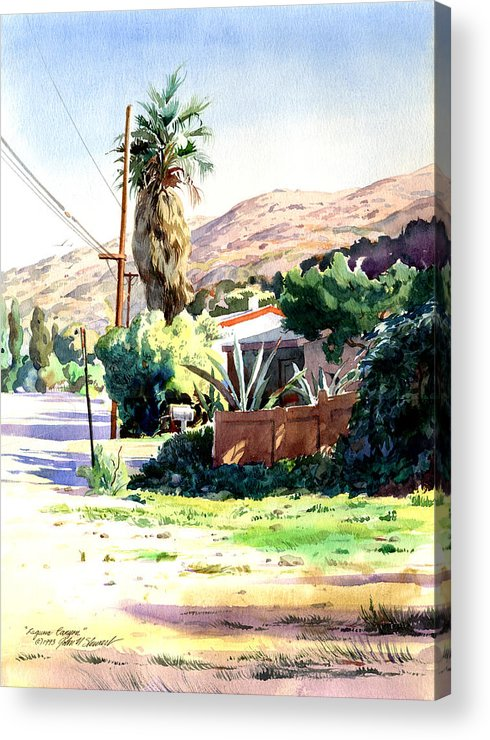 Watercolor Acrylic Print featuring the painting Laguna Canyon Palm by John Norman Stewart