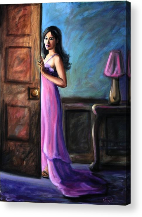 Woman Acrylic Print featuring the painting Last Glance by Maryn Crawford