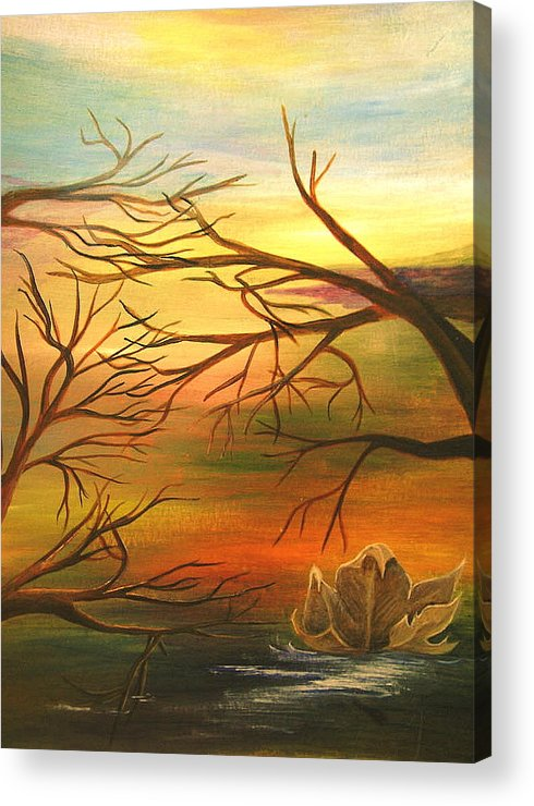 Landscape Acrylic Print featuring the painting Last Leaf Of Fall by Vivian Mosley