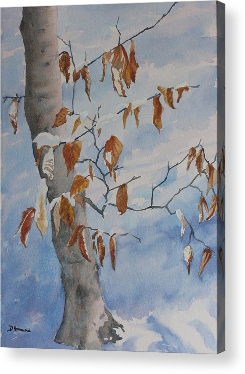 Beech Leaves Acrylic Print featuring the painting Last Leaves by Debbie Homewood