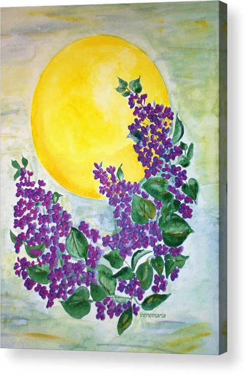 Lilacs In June Acrylic Print featuring the painting Lilacs In The Midnight Sun by Irenemaria Amoroso