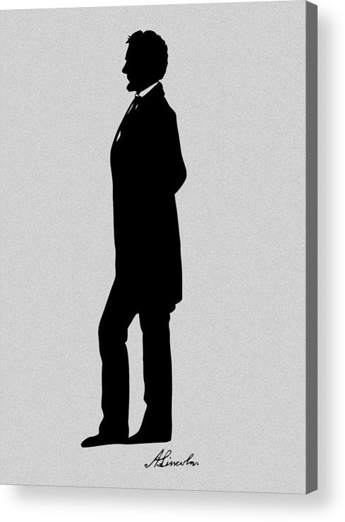 Abraham Lincoln Acrylic Print featuring the digital art Lincoln Silhouette And Signature by War Is Hell Store