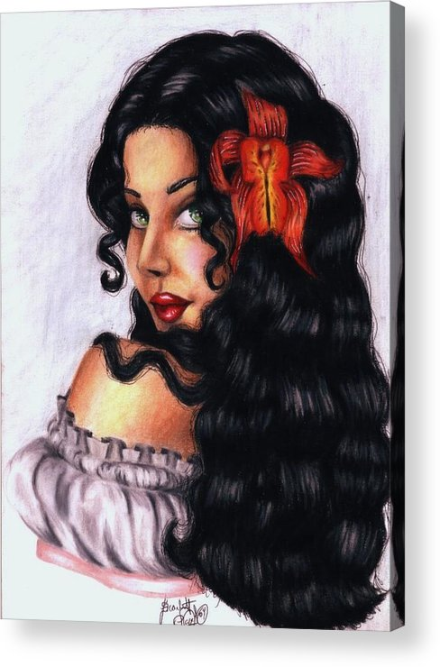 Woman Acrylic Print featuring the drawing Lolita by Scarlett Royal