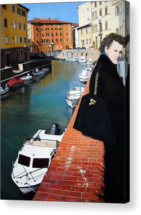 Cityscape Acrylic Print featuring the painting Manola In Livorno by Matthew Bates