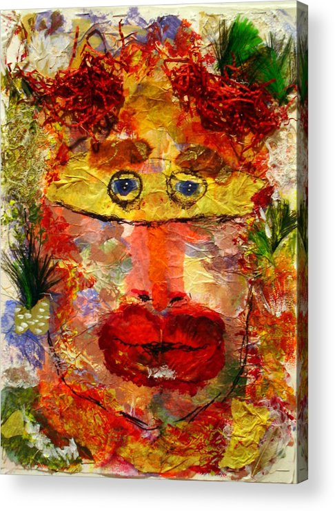 Mask Acrylic Print featuring the mixed media Mask by Lessandra Grimley