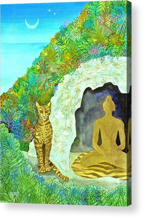 Yogi Meditation Jungle Cave Ocelot Spirtual Dawn Tropical Acrylic Print featuring the painting Meditation At Dawn by Jennifer Baird