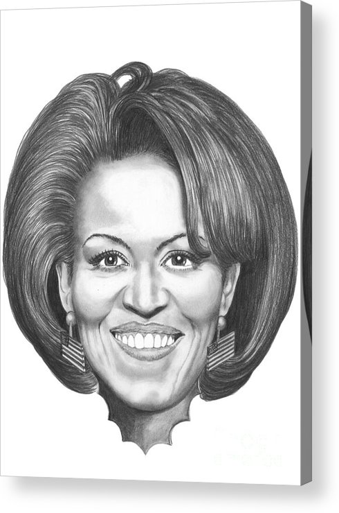 Drawing Acrylic Print featuring the drawing Michelle Obama by Murphy Elliott