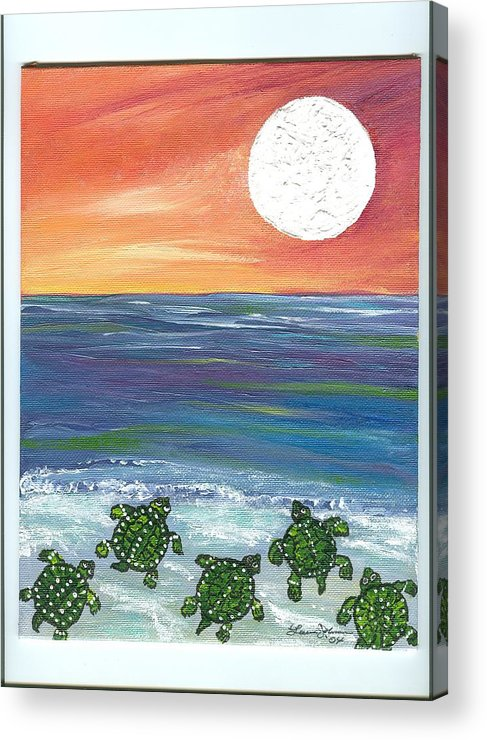 Turtles Acrylic Print featuring the painting Moonlight Birthday Swim. by Laura Johnson