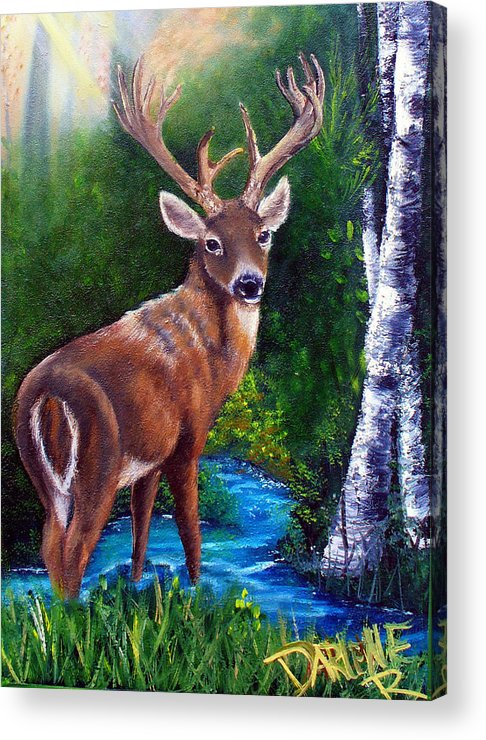 Deer Acrylic Print featuring the painting Morning Walk by Darlene Green