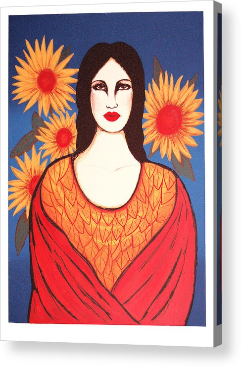 Laura Lopez Cano Acrylic Print featuring the print Mujer Con Flores by Laura Lopez Cano