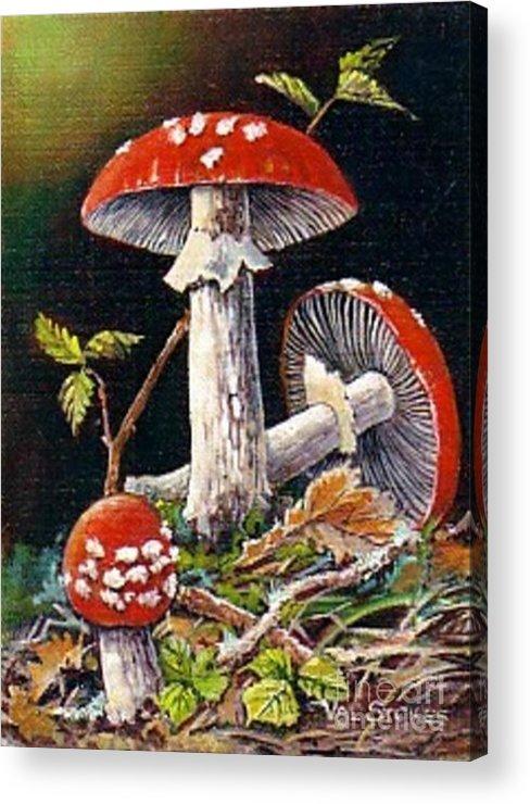 Mushrooms Acrylic Print featuring the painting Mushroom Magic by Val Stokes