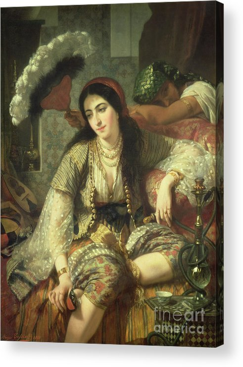 Odalisque Acrylic Print featuring the painting Odalisque by Jean Baptiste Ange Tissier