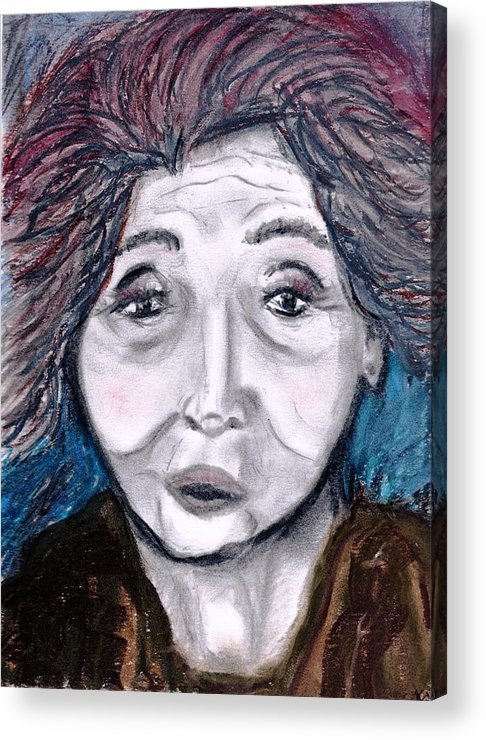 Face Acrylic Print featuring the drawing Old Suchi by JuneFelicia Bennett