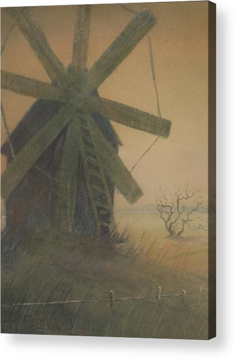 Watercolor Acrylic Print featuring the painting Old Windmill by Alla Parsons