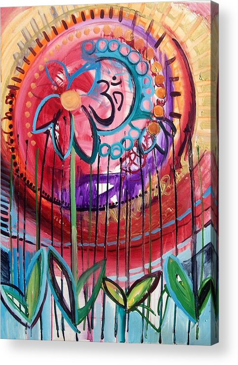 Om Acrylic Print featuring the painting Om Flower by Lili Lovemonster