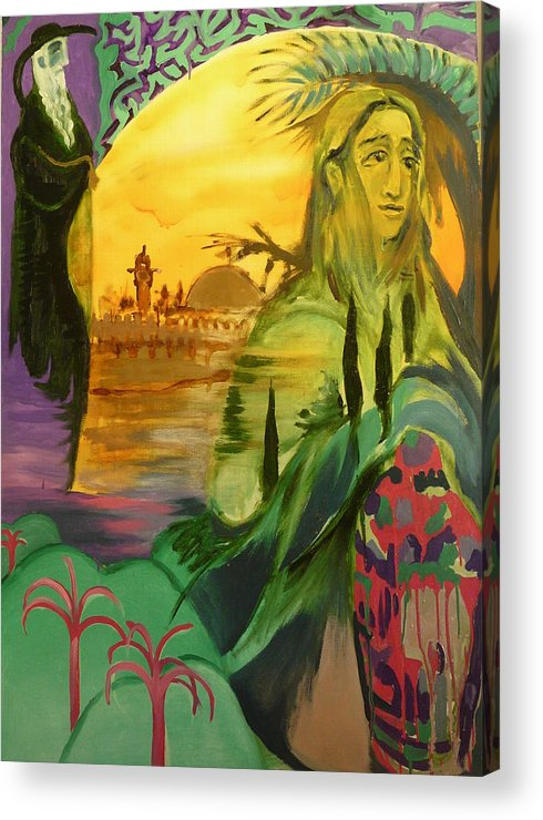 Surrealist Acrylic Print featuring the painting On The Way To Jerusalem by Zsuzsa Sedah Mathe