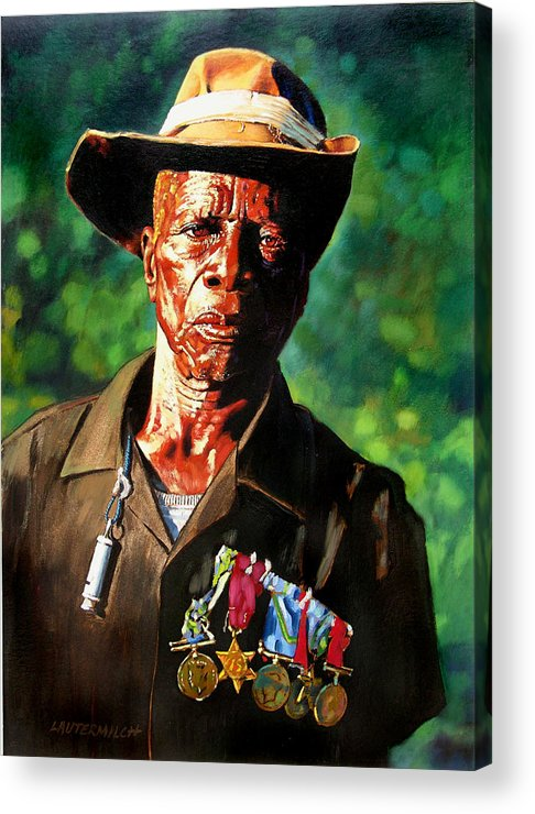 Black Soldier Acrylic Print featuring the painting One Armed Soldier by John Lautermilch