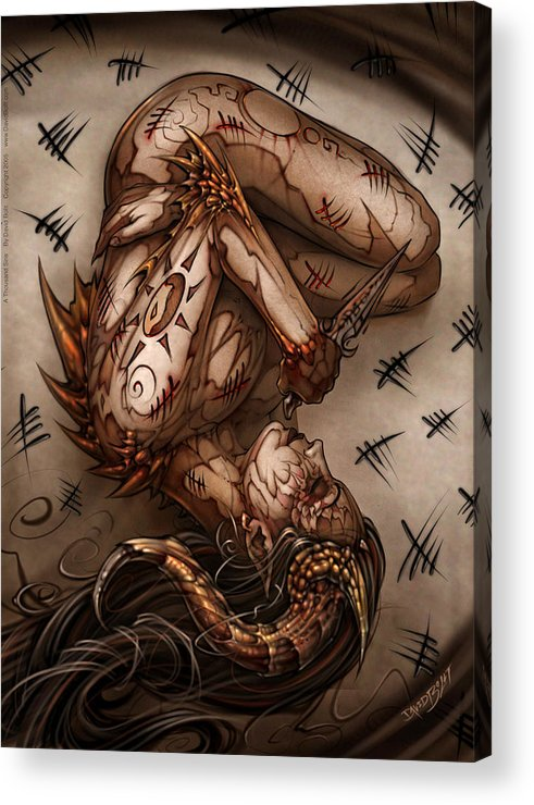 Nude Acrylic Print featuring the painting One Thousand Sins by David Bollt