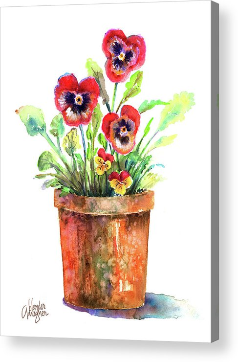 Pansy Acrylic Print featuring the painting Pansies In A Clay Pot by Arline Wagner