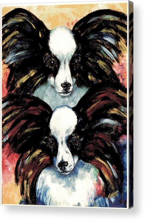 Papillon Acrylic Print featuring the painting Papillon De Mardi Gras by Kathleen Sepulveda