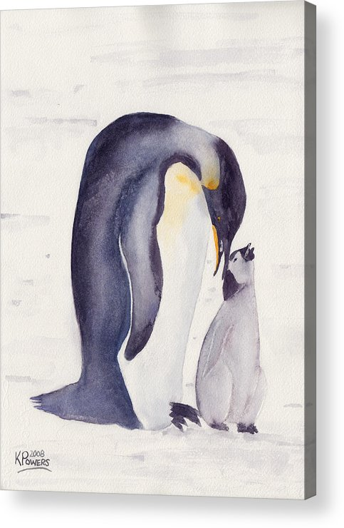 Penguin Acrylic Print featuring the painting Penguin And Baby by Ken Powers